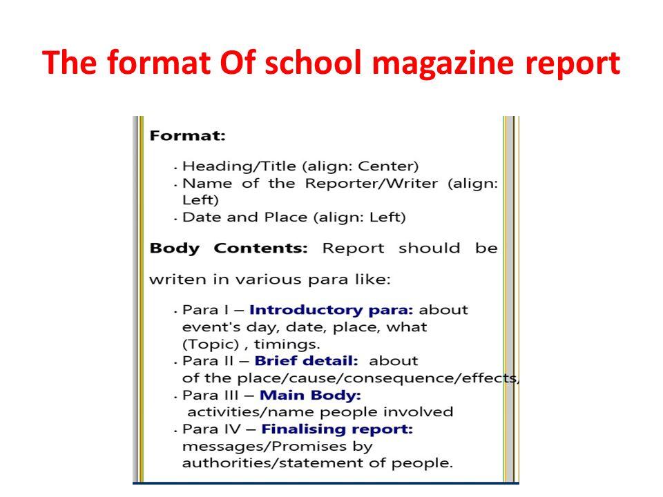 format of report writing for school magazine