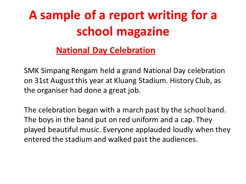 writing a school magazine report