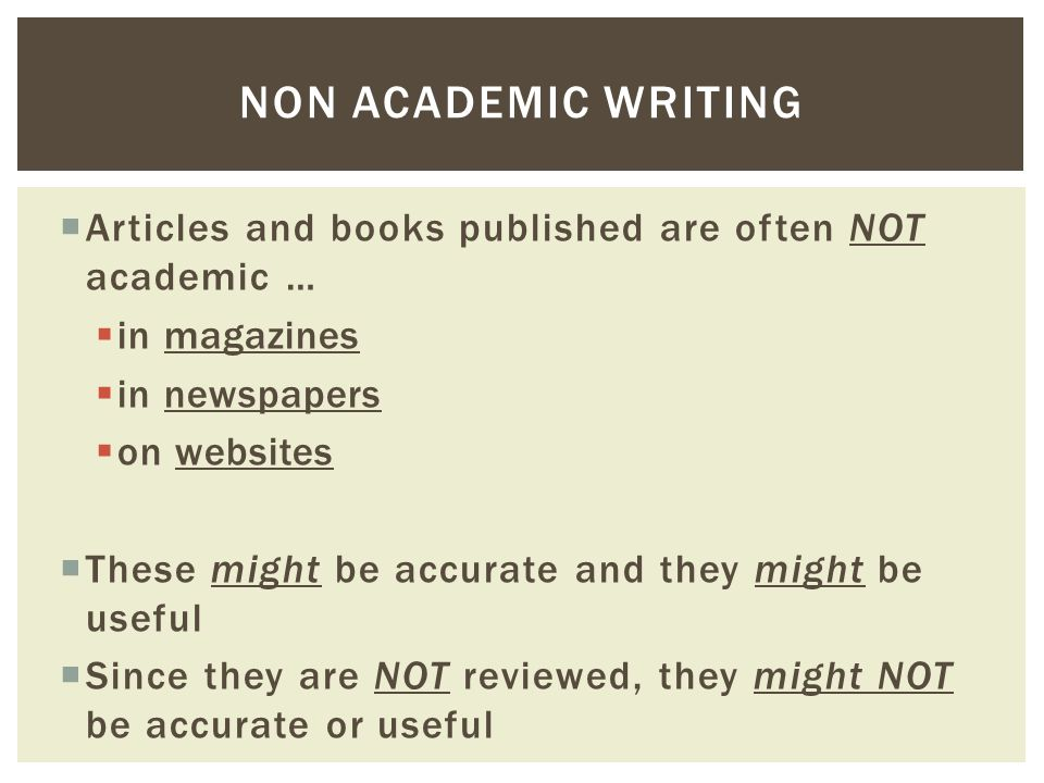 academic and non academic text