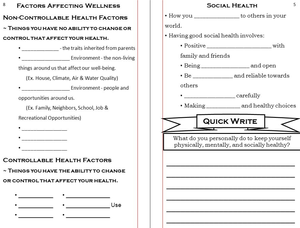 Your Total Health & Wellness Unit Goals & Objectives