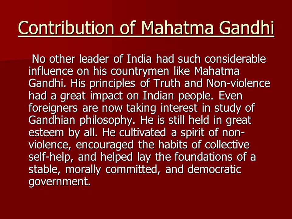 contribution of mahatma gandhi