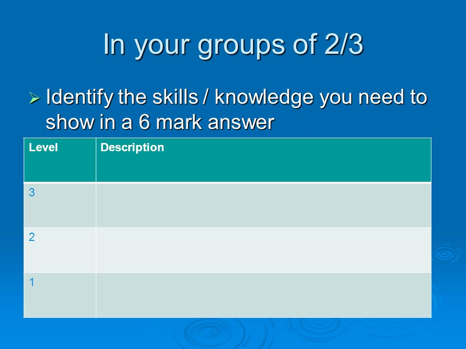 In your groups of 2/3  Identify the skills / knowledge you need to show in a 6 mark answer LevelDescription 3 2 1