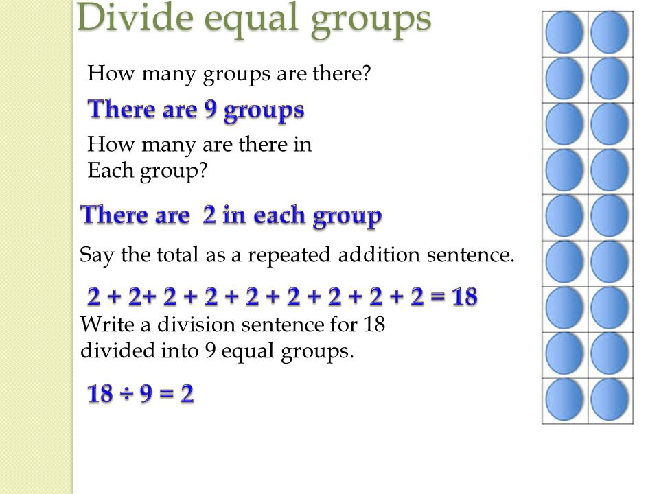 write a division sentence for each