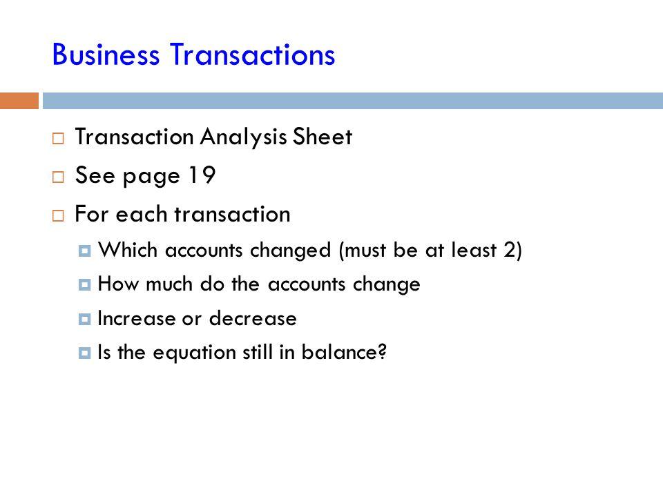 the balance sheet business transactions unit 2 business