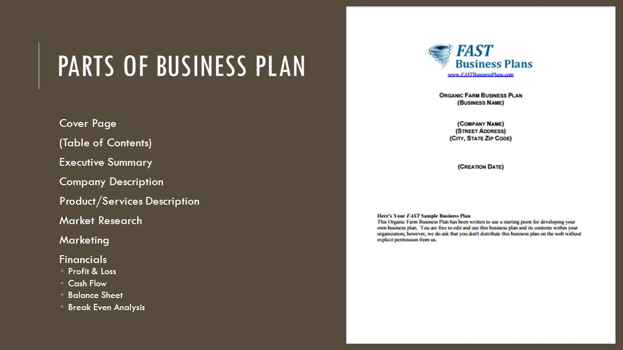 business plan cover page template word