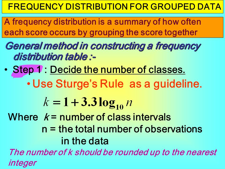 steps in constructing frequency distribution