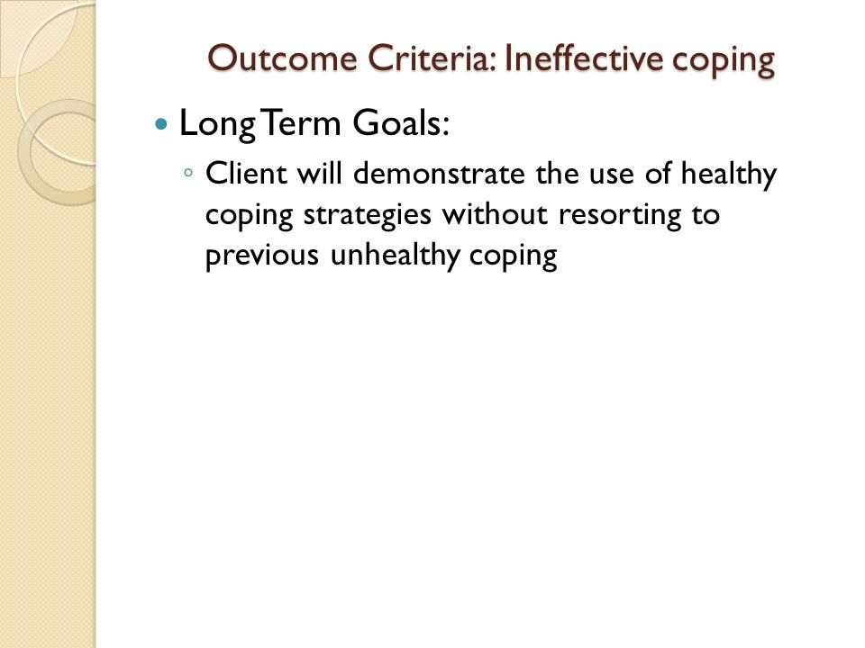 short term goals for ineffective coping