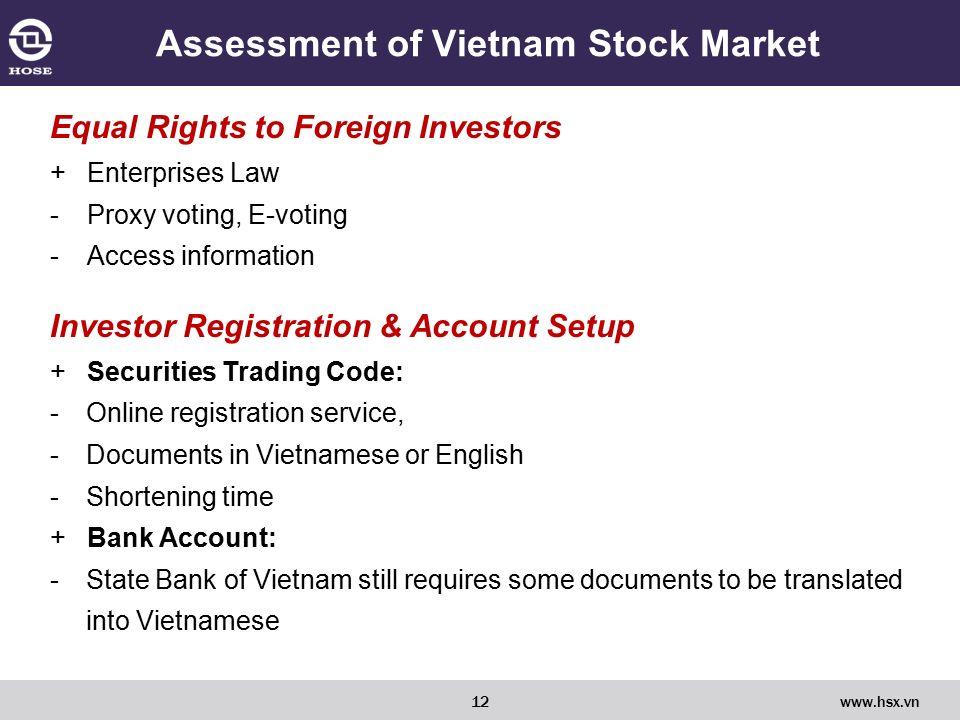 VIETNAM STOCK MARKET FROM FRONTIER TO EMERGING HOCHIMINH CITY, 04/11