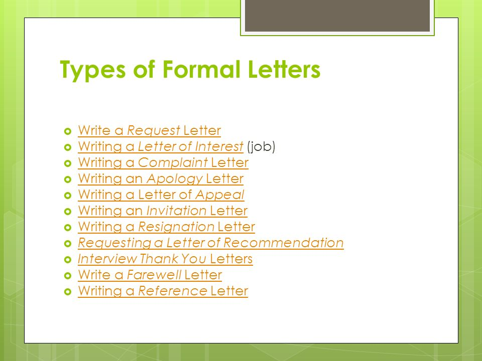 15 types of formal letters