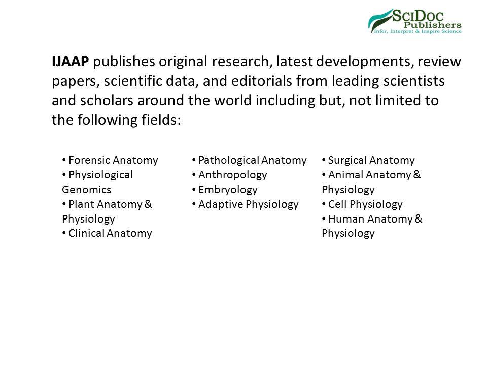 International Journal Of Anatomy Applied Physiology Ijaap Ppt