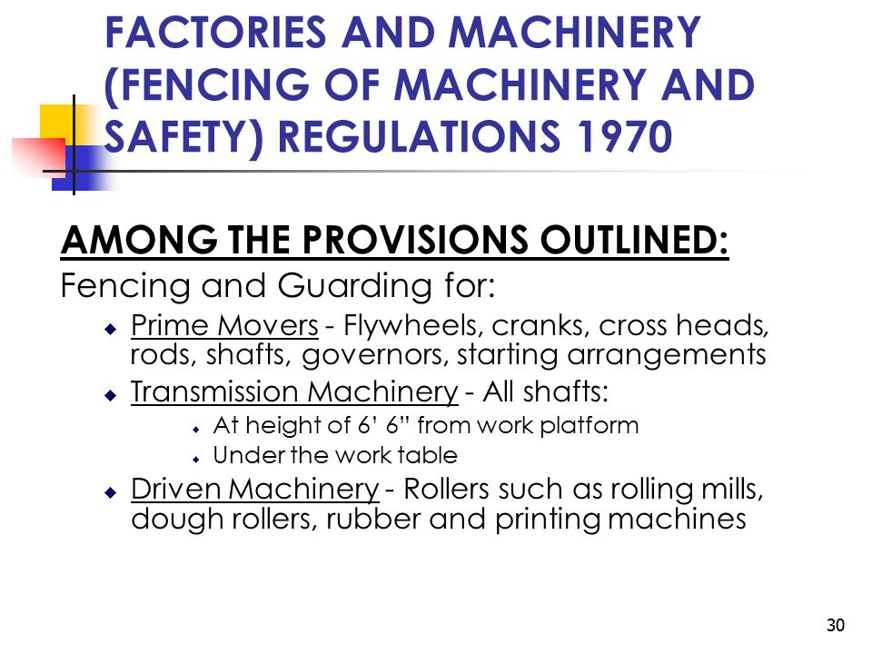 1 Safety Regulations Under The Factories And Machinery Act Ppt Download
