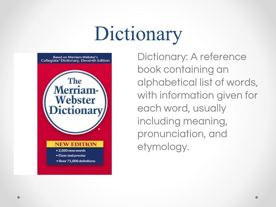 A descriptive dictionary and