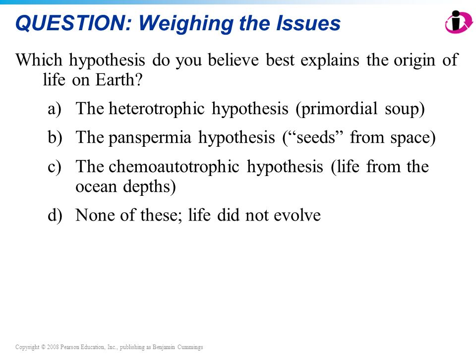 Copyright © 2008 Pearson Education, Inc., publishing as Benjamin Cummings QUESTION: Weighing the Issues Which hypothesis do you believe best explains the origin of life on Earth.