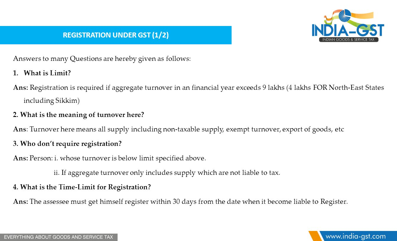 REGISTRATION UNDER GST (1/2) Answers to many Questions are hereby given as