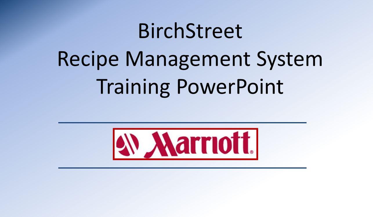 birchstreet recipe management system training powerpoint ppt download