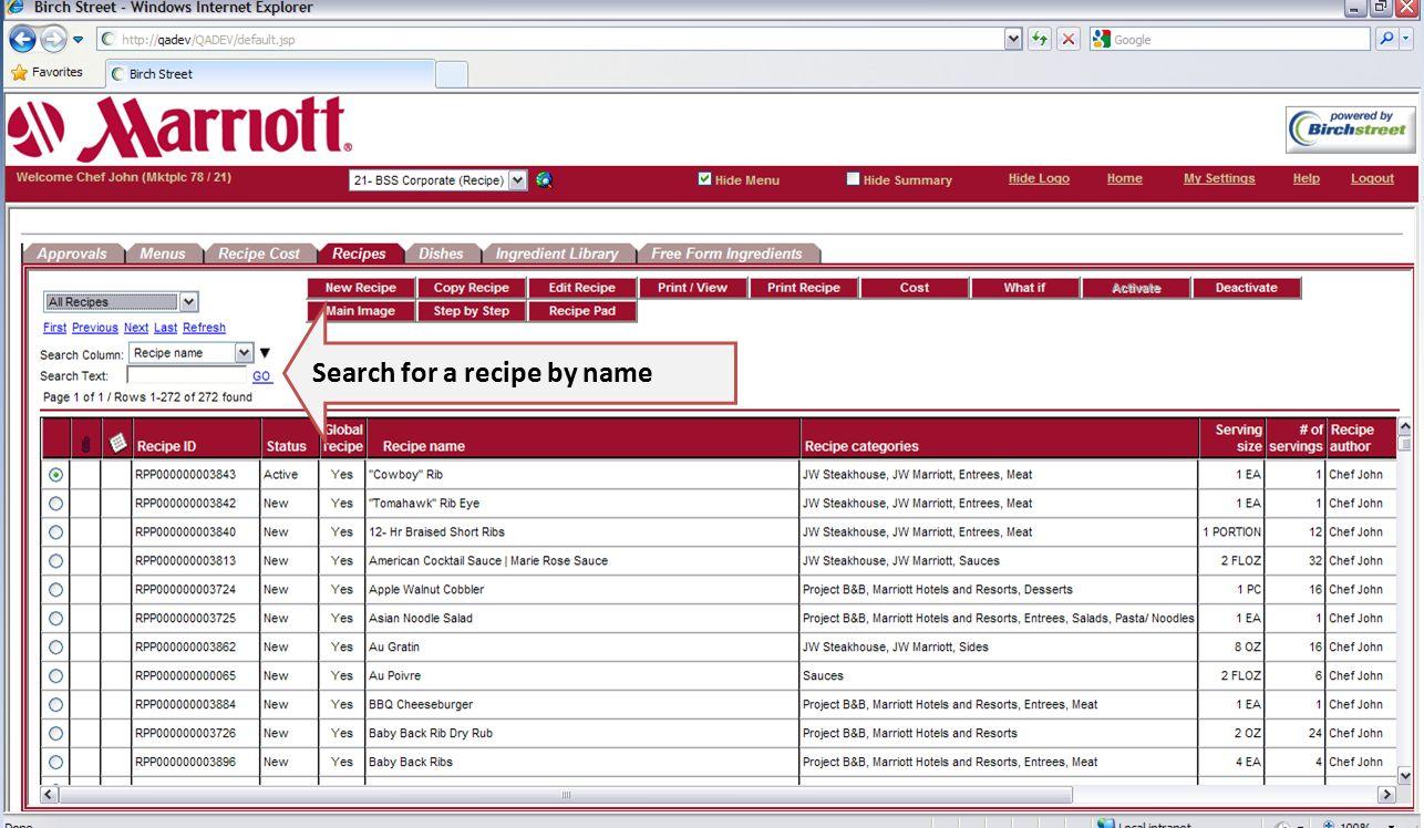 BirchStreet Recipe Management System Training PowerPoint