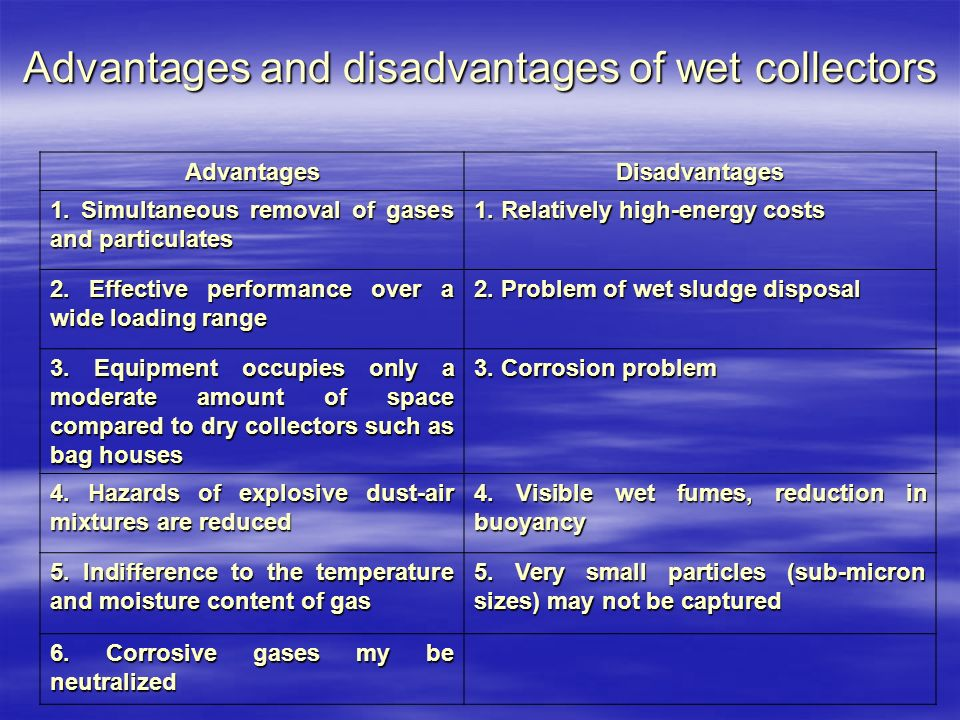 Advantages and disadvantages of wet collectors AdvantagesDisadvantages 1.