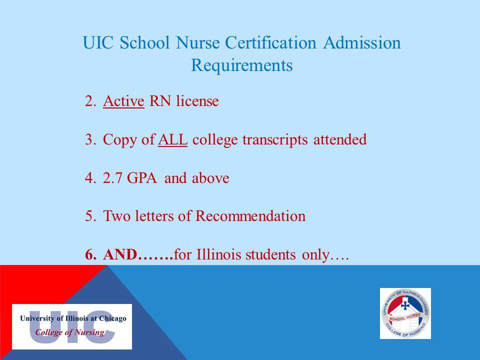 UIC SCHOOL NURSE CERTIFICATE PROGRAM INSTITUTE FOR HEALTH CARE ...