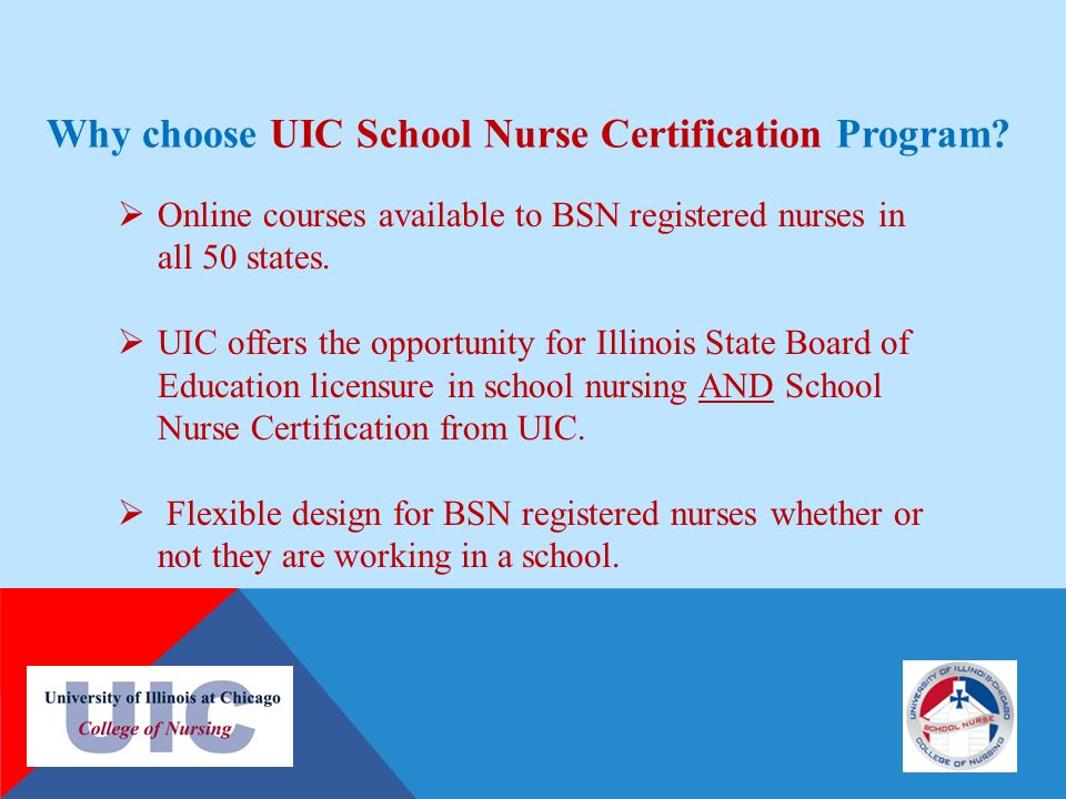 UIC SCHOOL NURSE CERTIFICATE PROGRAM INSTITUTE FOR HEALTH CARE ...