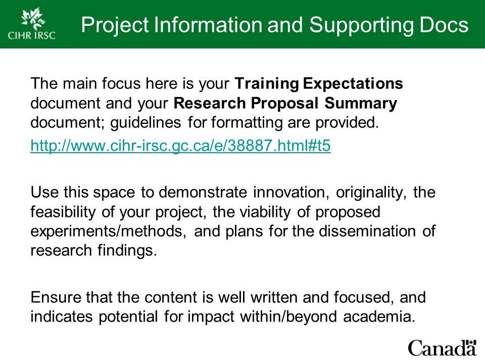 cihr research proposal format