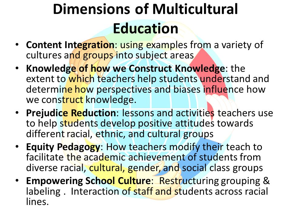 an analysis of multicultural education most important goals which are content integration and the kn Developmental level of students, goals, intent and objectives of the teacher, content, and environment including time, physical setting and resources imagine a course that challenges.