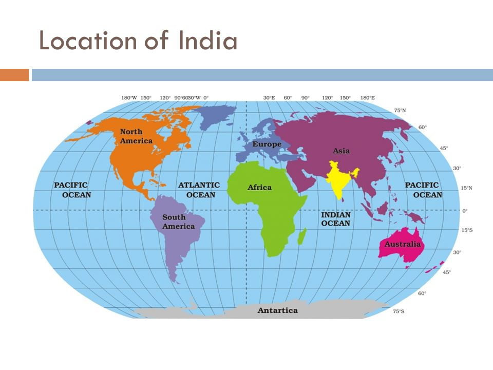INDIA : SIZE AND LOCATION 1. Location of India on the World Map. 2