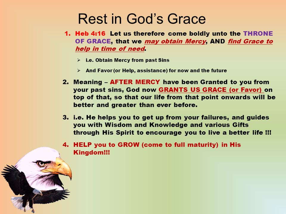 rest in god's grace 1rcy vs grace ?? 2.examples of grace in the