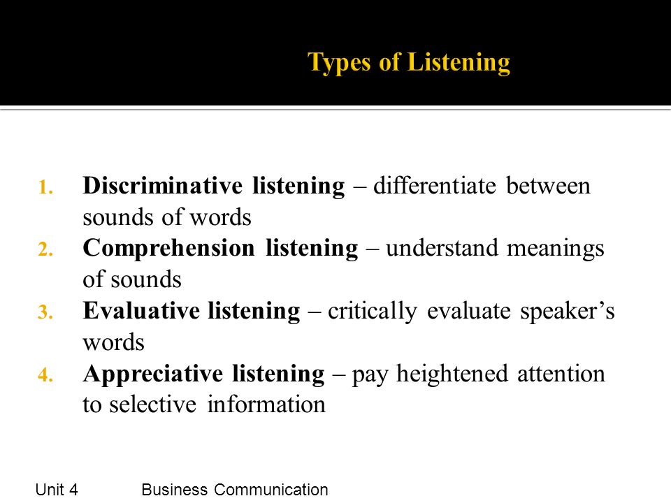 types of listening comprehension
