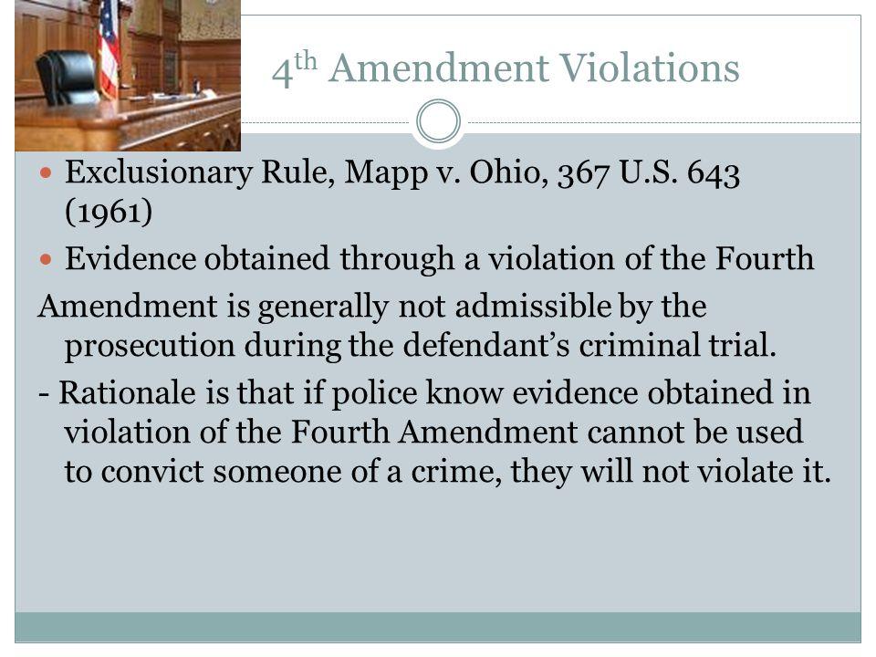4 Th Amendment Violations Exclusionary Rule Mapp V