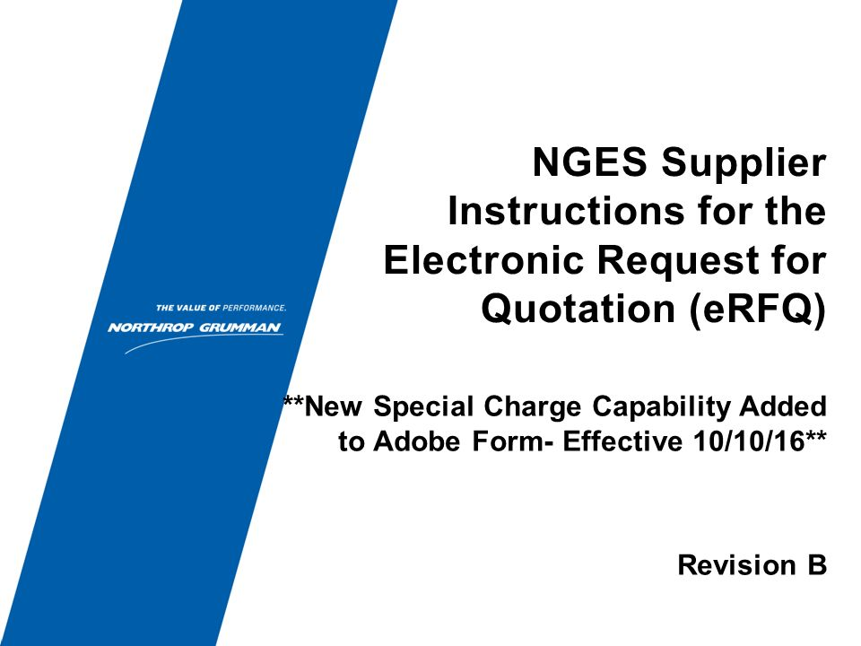 Nges Supplier Instructions For The Electronic Request For Quotation
