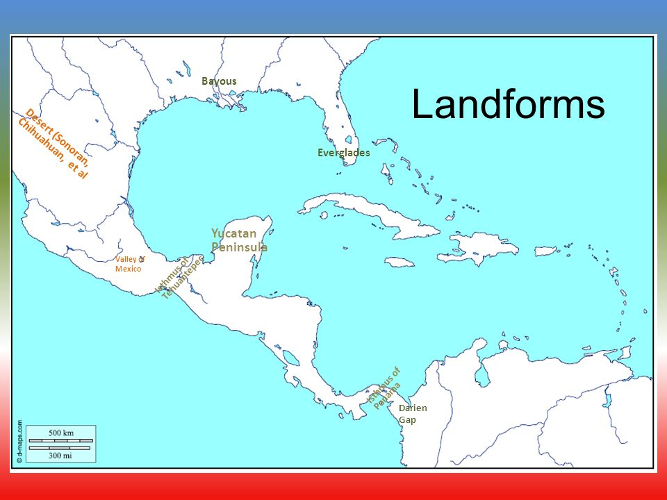 Map Of Central America Yucatan Peninsula.Physical Geography Of Central America Fill In Your Map As We Go