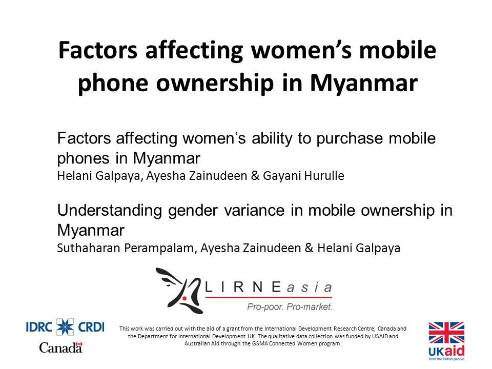 Factors affecting women's mobile phone ownership in Myanmar
