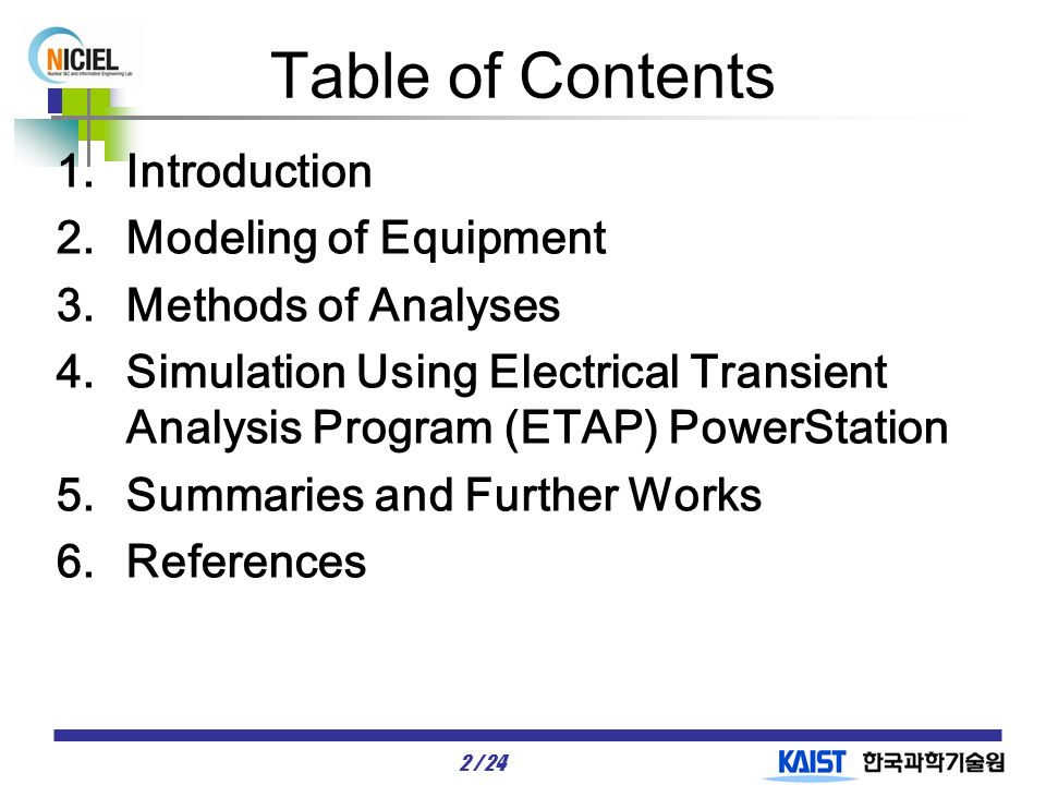 1 / 24 Analysis of Estimated Problems Using ETAP During