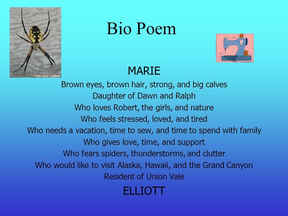 Mrs  Elliott's Family Tree Bio Poem MARIE Brown eyes, brown hair