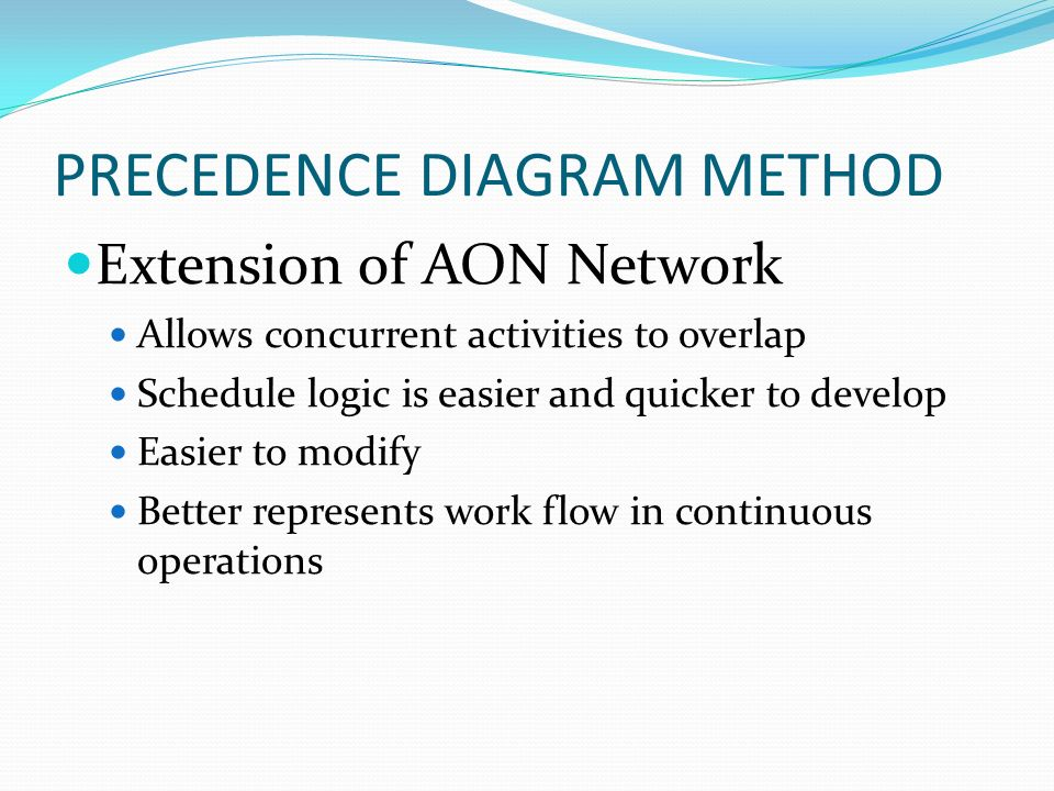 Project management magister desain universitas komputer indonesia 3 precedence diagram method extension of aon network allows concurrent activities to overlap schedule logic is easier and quicker to develop easier to ccuart Choice Image