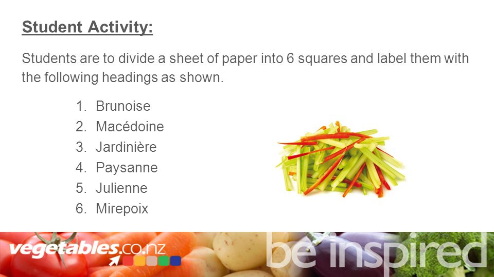 Vegetable Cuts 1 2 Interactive Lessons With Teacher Notes And
