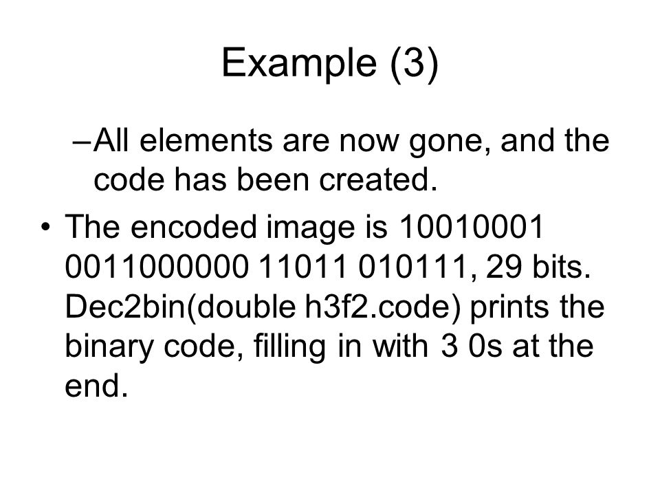 Example (3) –All elements are now gone, and the code has been created.