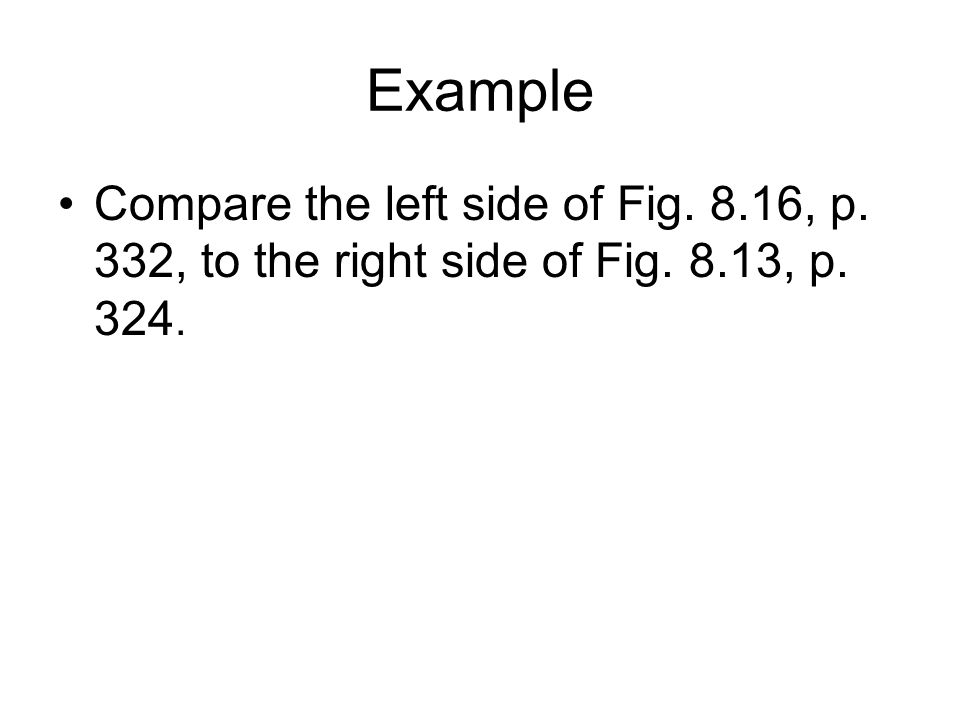 Example Compare the left side of Fig. 8.16, p. 332, to the right side of Fig. 8.13, p. 324.