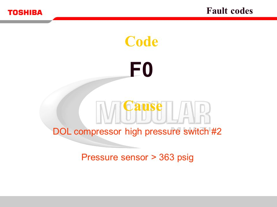 Refer to Service Manual for details Fault codes  To retrieve fault