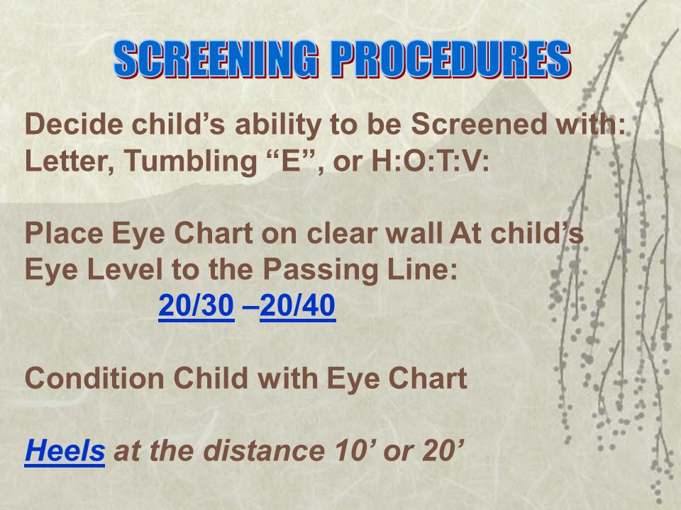 VISION SCREENING TRAINING Pre-Test Indicate whether the following