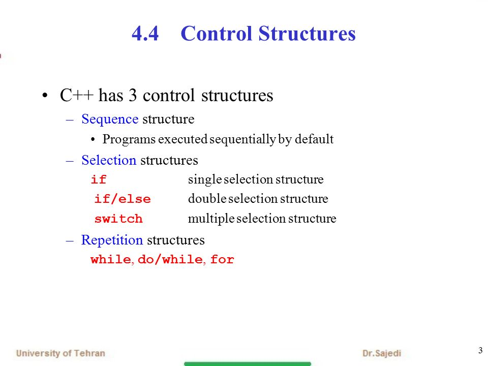 1 chapter 4 control statements part 1 outline 4 1 introduction3 3 4 4control structures c