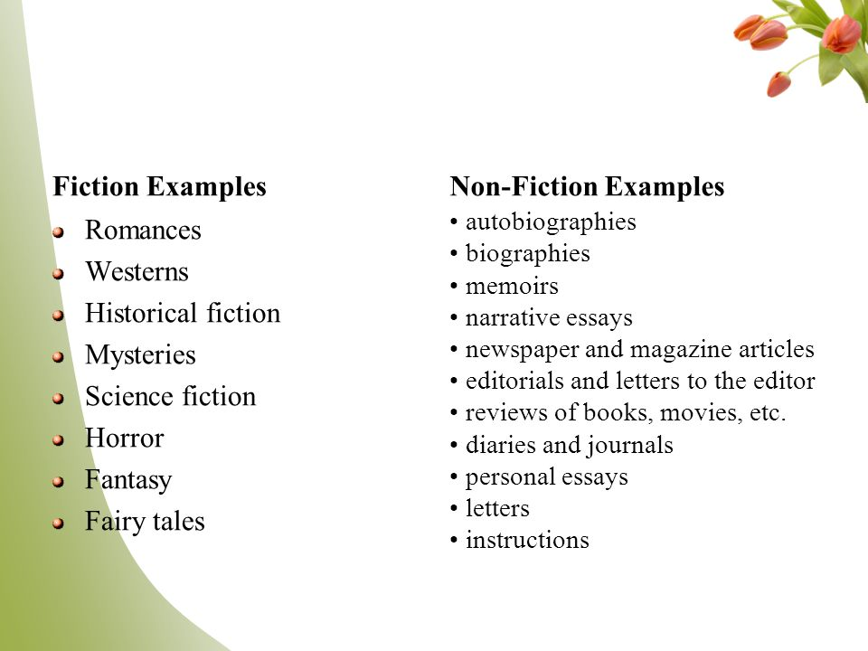 5 examples of fiction