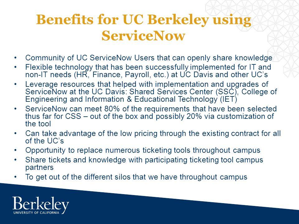 ServiceNow for UC Berkeley CSS-IT Program Technology Office