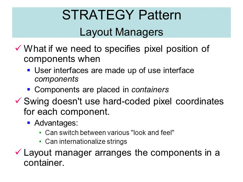 Chapter 5 Patterns and GUI Programming -Part 2-  STRATEGY