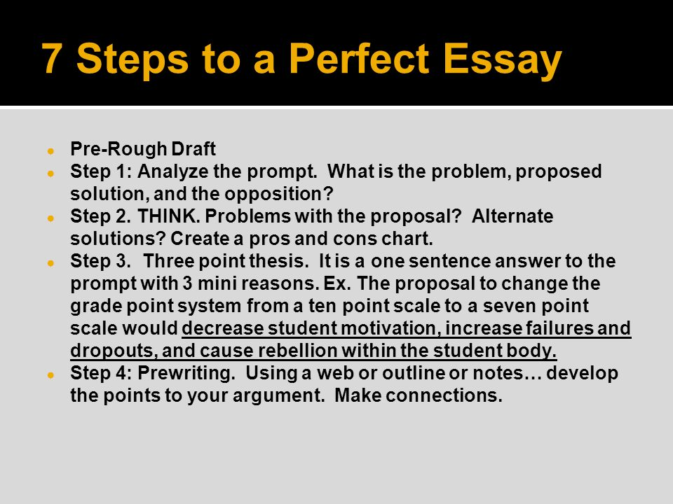 Proposal Essay Topic Ideas  Steps To A Perfect Essay  Prerough Draft  Step  Analyze Writing A Descriptive Essay also Essay On Obesity  Steps To A Perfect Essay  Prerough Draft  Step  Analyze The  Essay About Environment