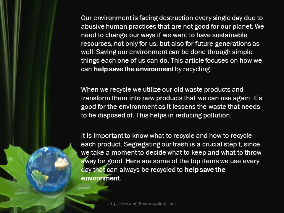 article on save environment
