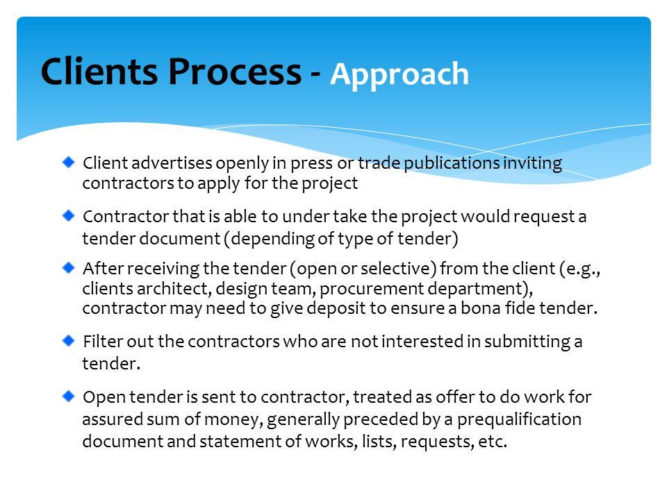 Construction Tender Process Tender steps between Client