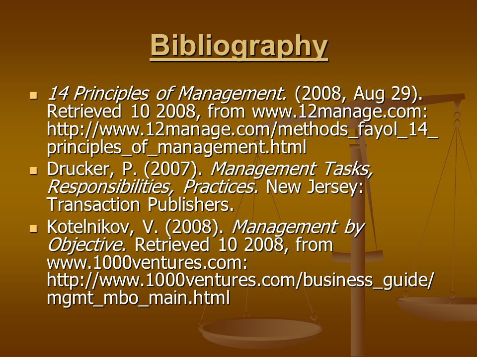Bibliography 14 Principles of Management. (2008, Aug 29).