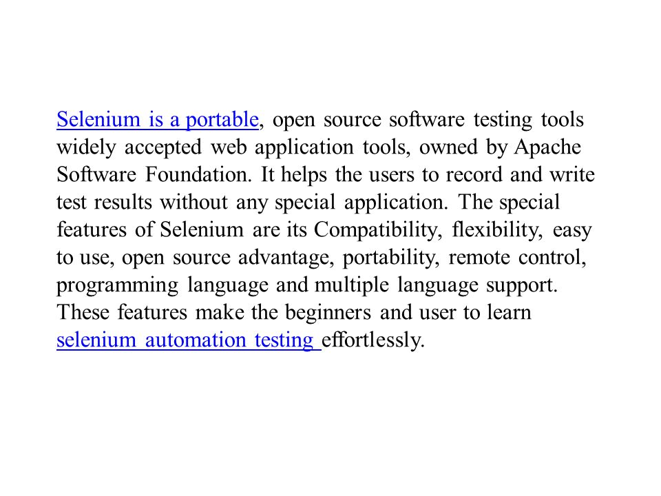 Selenium Online Training  Every new web application or