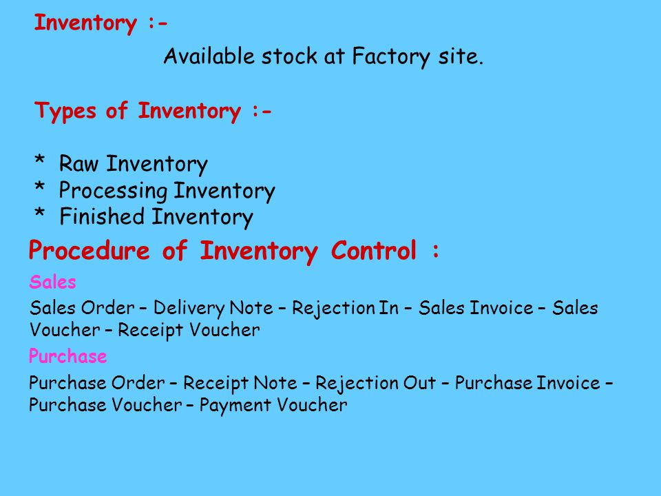 Inventory :- Available stock at Factory site.